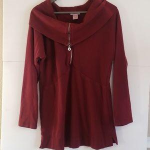 Soft Surroundings Burgundy Scoo Neck Sweater Dress